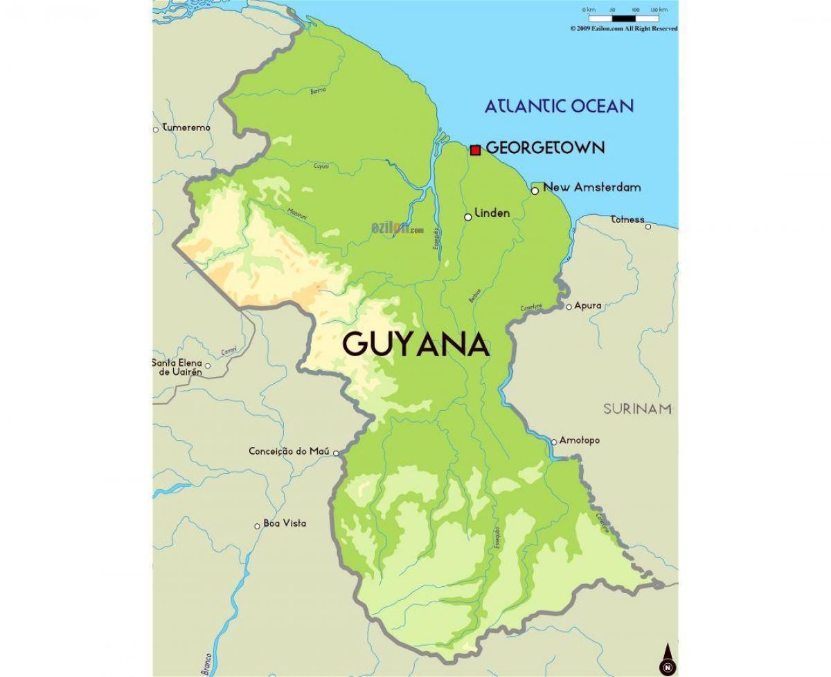 Guyanan Kartta Kartta Guyana Etela Amerikka Amerikka